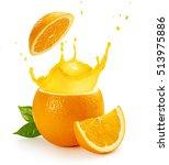 orange juice splashing out of a ... | Shutterstock . vector #513975886