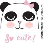 Stock vector cute panda girl 513980074