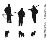 vector silhouettes of hunters... | Shutterstock .eps vector #513984046