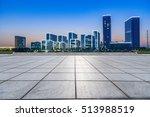empty floor with modern skyline ... | Shutterstock . vector #513988519