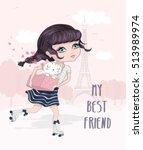 cute girl vector skater... | Shutterstock .eps vector #513989974