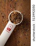 measuring spoon on wooden... | Shutterstock . vector #513992050