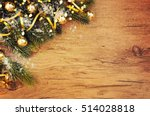 christmas wooden background | Shutterstock . vector #514028818