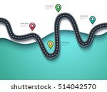 road trip and journey route.... | Shutterstock .eps vector #514042570