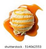 vanilla ice cream with caramel... | Shutterstock . vector #514062553