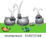 rabbits among flowers | Shutterstock .eps vector #514072768