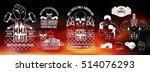 set for mma. silhouette  logo ... | Shutterstock .eps vector #514076293