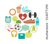 healthy lifestyle concept with... | Shutterstock .eps vector #514077190