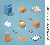 isometric vector postal... | Shutterstock .eps vector #514086898