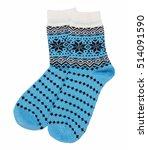 knitted socks isolated  | Shutterstock . vector #514091590
