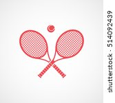 tennis racket cross emblem red... | Shutterstock .eps vector #514092439
