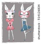 Cute Rabbit Girls Vector