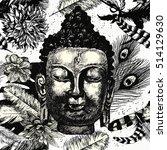 buddha head seamless pattern... | Shutterstock .eps vector #514129630