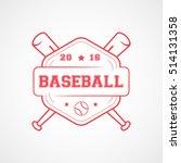 baseball emblem red line icon...   Shutterstock .eps vector #514131358