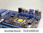blue motherboard chip close up | Shutterstock . vector #514140010