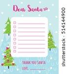 cartoon christmas wish list... | Shutterstock .eps vector #514144900