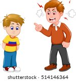 cartoon father scolding his son | Shutterstock .eps vector #514146364