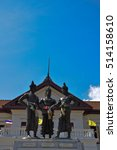 Small photo of 3 Kings Monument in front of Art and culture city , Chiang Mai,northern of Thailand,blue sky, blue sky cloud