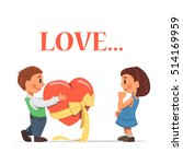 a boy confesses his love. the...   Shutterstock .eps vector #514169959