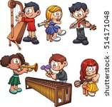 kids playing musical... | Shutterstock .eps vector #514171048