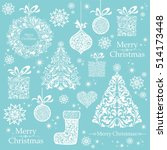 christmas decoration set   lots ... | Shutterstock . vector #514173448