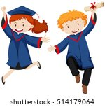 boy and girl in graduation gown ... | Shutterstock .eps vector #514179064