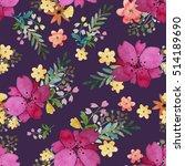 romantic floral seamless... | Shutterstock . vector #514189690