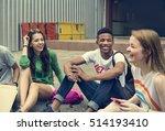 friends hipster teenager... | Shutterstock . vector #514193410