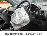 Stock photo airbag exploded at a car accident 514194769