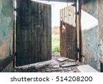 Open Broken Wooden Gate Of Old...