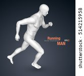3d running man  white colored.... | Shutterstock .eps vector #514215958