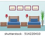 Stock vector hotel room interior with two beds in flat style modern bedroom design vector illustration 514220410