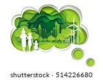 paper carve to family and park... | Shutterstock .eps vector #514226680