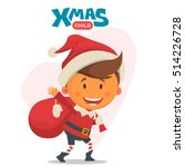 cheerful child. winter... | Shutterstock .eps vector #514226728