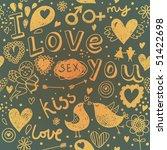 cartoon romantic seamless... | Shutterstock .eps vector #51422698