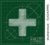 vector blueprint cross icon .... | Shutterstock .eps vector #514243990