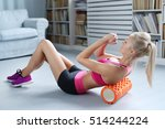 workout. woman exercise at home | Shutterstock . vector #514244224