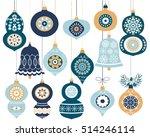 set of blue retro christmas... | Shutterstock .eps vector #514246114