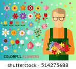 colorful flowers concept... | Shutterstock .eps vector #514275688