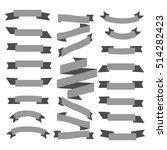 set gray ribbons on a white... | Shutterstock .eps vector #514282423