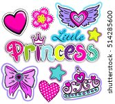 set of cute stickers with... | Shutterstock .eps vector #514285600