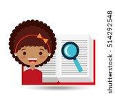 cute girl open book study... | Shutterstock .eps vector #514292548