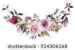 pink white roses leaves... | Shutterstock . vector #514306168