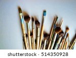artistic brushes on a gray... | Shutterstock . vector #514350928