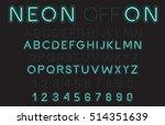 neon light alphabet vector font | Shutterstock .eps vector #514351639