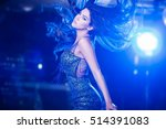 Stock photo young women at the night club in blue dress 514391083