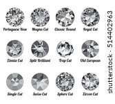 set of realistic white diamonds ... | Shutterstock .eps vector #514402963