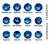 set of realistic blue amethysts ... | Shutterstock .eps vector #514402990
