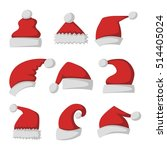 just red christmas santa hat at ... | Shutterstock .eps vector #514405024