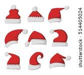 just red christmas santa hat at ... | Shutterstock .eps vector #514405024